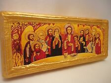 The Last Supper Jesus Christ St Apostles Ecclesiastical Coptic Icon on Pine Wood