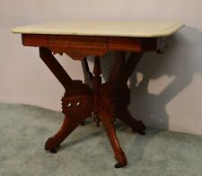 Antique 1800's  Carved Victorian Eastlake Walnut Parlor Marble Top Center Table