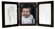 Mahogany CLAY KEEPSAKE & PHOTO DESKTOP FRAME KIT Baby Foot Hand Imprint No Bake