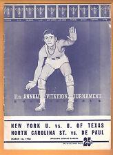 Rare 1948 NIT Quarterfinals MSG March 13,1948 NYU U Of Texas NC State De Paul