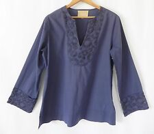 bo'em Plage Tunic Top 100% Cotton Rustic Navy Blue Long Bell Sleeves Size L