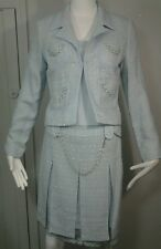 Alberto Makali Powder Blue Tweed:Chain Lace  Dressy Skirt Suit Set Sz 6/8