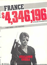 "1986 SYLVESTER STALLONE ""COBRA"" FRANCE BOXOFFICE SUCCESS AD"