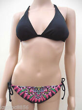 M&S Black Strappy Bikini With Side Tie Hipster Bottoms Sz UK 10 top/12 bottoms
