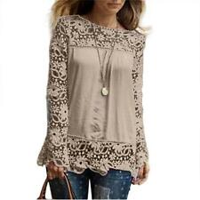Womens Long Sleeve Shirt Casual Lace Blouse Loose Cotton Tops T Shirt KH/L
