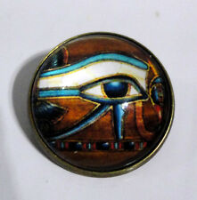 ZP405 Unusual EYE of Horus Antique Bronze Style Domed Pin Badge Brooch Egypt