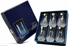 Vintage J.G DURAND Cristal d'Arques NEW IN BOX! 6 French CRYSTAL TUMBLERS 36 cl.