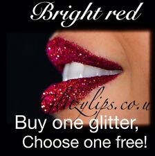 Glitter Lips Red Hot Lipstick Long Lasting High Shine Glam FREE GLITTER