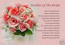 MOTHER OF THE BRIDE - From Groom ( Laminated Poem Gift)