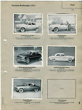 FORD [USA]: 1950s Vintage German Card Album Page w/ 5 Picture Cards