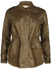 ALL SAINTS PILOT MILITARY KHAKI WET COATED COAT JACKET 8 36 4 £195!