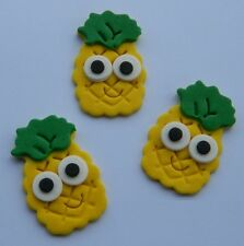 12 edible PINEAPPLE FRUIT With EYE FACE cake topper decoration CUPCAKE cute