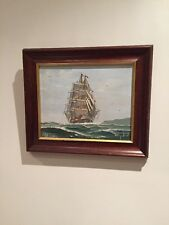 Oil On Canvas Sail Boat Ship Ocean Signed Nice Painting