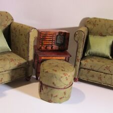 Doll house miniature period settee, chair and stool