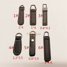 6 Stly Luxurious PU Leather Zipper Pull Tab Replacement Kit - BALCK AND COFFEE