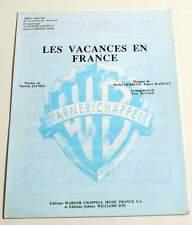 Partition sheet music LA BANDE A BASILE : Les Vacances en France * 80's