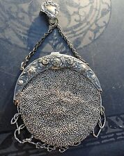 Antique Victorian 1901 Marcasite Chatelaine Beaded Purse - Suede Lined