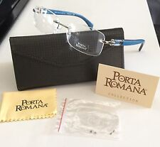 Porta Romana Rimless Eyeglasses 1956 601B Blue Wood White Gold RX Glasses 58 New