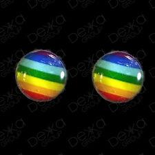 Genuine 925 Sterling Silver Rainbow Studs Earrings Disc Girls Men Women Children