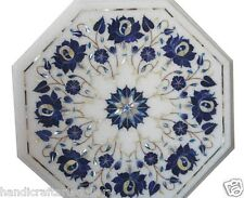 Size 1'x1' White Marble Coffee Table Set Lapis Floral Mosaic Inlay Art Furniture