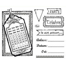 Viva Decor Silikonstempel clear stamps Einladung, 14 x 18 cm 4003125