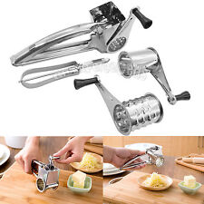 Stainless Steel Rotary Cheese Grater 3 Drums Slice Shred + Peeler Tool US Stock