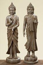 Lot De 2 Bouddha 80cm Hauteur en Brun Antique pour le Jardin et Maison Moine