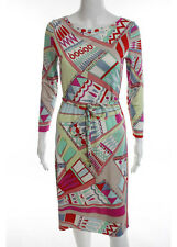 EMILIO PUCCI Multi Colored Silk Long Sleeve Scoop Neck Knee Length Dress Sz 8
