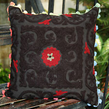 Black Christmas Decor Indian Suzani Pillow/Cushion Cases Embroidered Square 16""