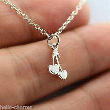 CHERRY DANGLE NECKLACE - 925 Sterling Silver - Namaste Charm Yoga Cherries Charm