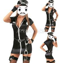 Sexy Women Police Cop Uniform Officer Costume Lady Halloween Fancy Dress Outfits