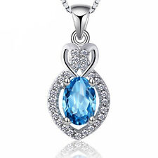 Fashion Women's 925 Sterling Silver Blue Crystal Pendant Chain Necklace Jewelry