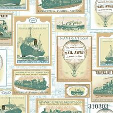 New Travel Stamps - Train , Ship & Hot Air Balloon  Wallpaper 310303