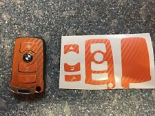 Carbon Orange Schlüssel Folie BMW Key E67 5er E67  6er 7er E65 E66 E M 3 Tasten