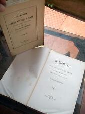 1867 IL 'ROMULEON' DI BENVENUTO DA IMOLA. RARA EDIZIONE ROMAGNOLI IN DUE VOLUMI