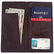 CHOCOLATE BROWN LEATHER PASSPORT COVER WALLET - LULPASS2B