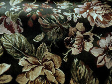 """Black Floral Tapestry Fabric 3/4 Yard x 32""""  Wine Green & Tan Accents Home Decor"""