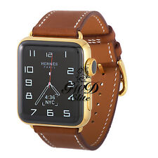 18k Gold Plated 42MM HERMES Apple Watch SERIES 2 Brown Fauve Single Tour