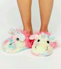 ASOS Multi Coloured Rainbow Unicorn Fluffy Slippers L 7-8 BNWT *FREE GIFT*