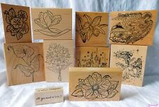 Lot of Large Rubber Stamps~Flowers~Angels~Christmas & More~10 Stamps~New