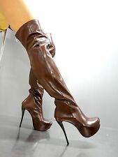MORI ITALY OVERKNEE NEW HIGH HEEL BOOTS STIEFEL STIVALI LEATHER BROWN MARRONE 40