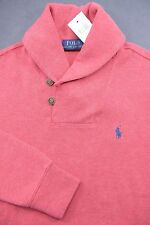 NWT Polo Ralph Lauren Men Shawl Collar Light Red Pullover Cotton Sweat Sweater S