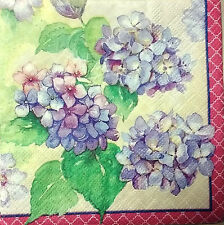 TWO (2) Hydrangea Flowers Cocktail Napkins for Decoupage and Paper Crafts