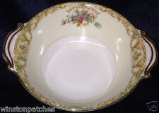 NORITAKE N84 LUGGED CEREAL BOWL 12 OZ GREEN & TAN EDGE FLORAL GOLD TRIM
