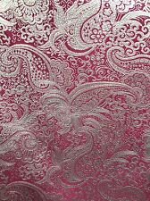 BURGUNDY METALLIC PAISLEY BROCADE FABRIC (60 in.) Sold By The Yard