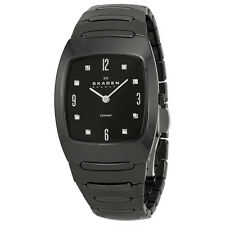 Skagen Swarovski Crystal Black Ceramic Ladies Watch 914SBXC