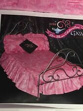 2014 Grant A Wish 25 Anniversary Barbie 1:6 Scale SILVER METAL BED/Pink Bedding