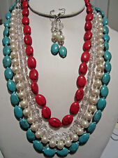 Four Strand Turquoise And Red Stone Cream Faux Pearl Necklace Earring Set