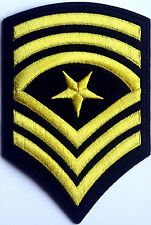 US Sgt Sergeant Major Gold Stripes Embroidered Iron Sew On Patch Military Army