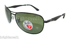 Authentic RAY-BAN Polarized Black Aviator Sunglasses RB 3519 - 006/9A *NEW* 59mm